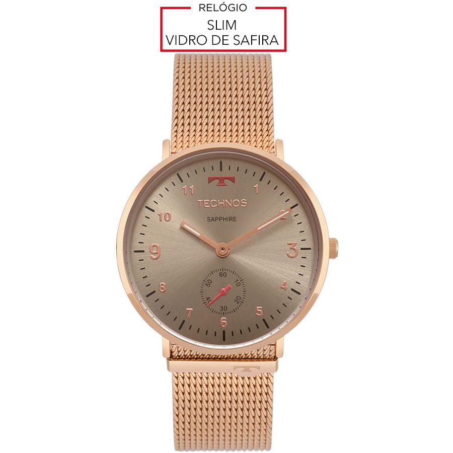 7f611cf9452 Relógio Technos Rosé Classic Slim 1L45AY 4C