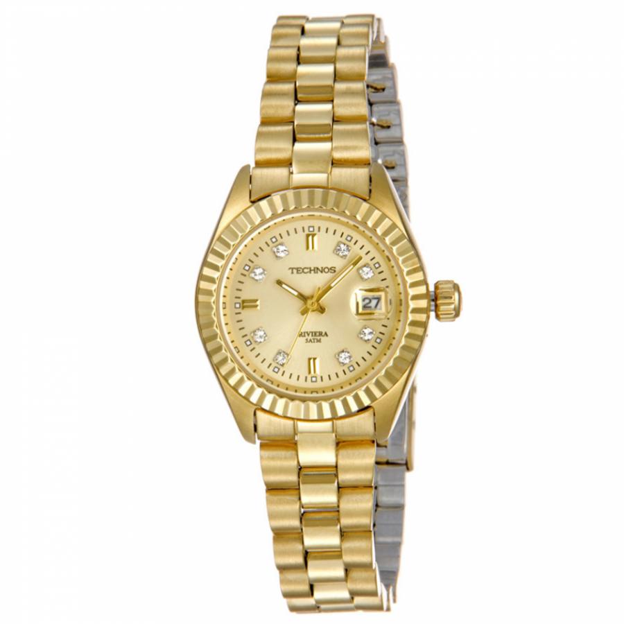 0ed69fb049d Relógio Technos Feminino Dourado Riviera Analógico 2015AV 4X