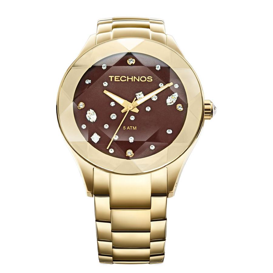 9a996aa46d23f Relógio Technos Dourado Feminino Elegance Crystal 2039AT 4M