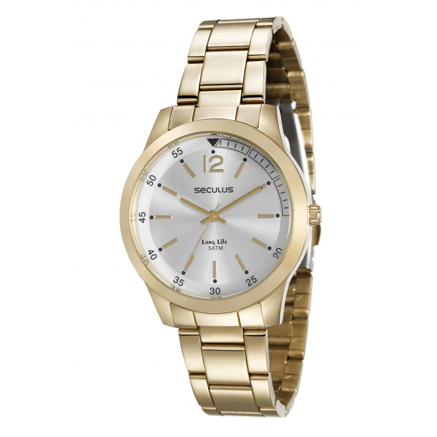8a044ff88ed Relógio Seculus Feminino Dourado Long Life 20486LPSVDA1