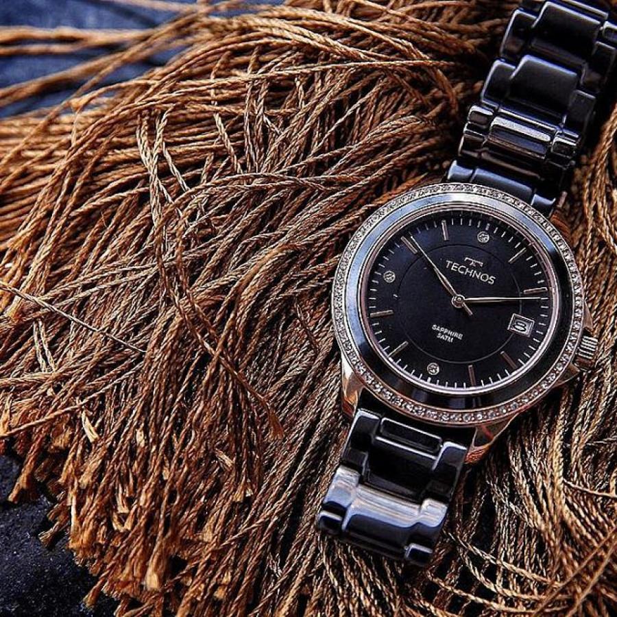Relógio Technos Rosé e Preto Feminino Ceramic 2315KZR 4P b8ec334f72