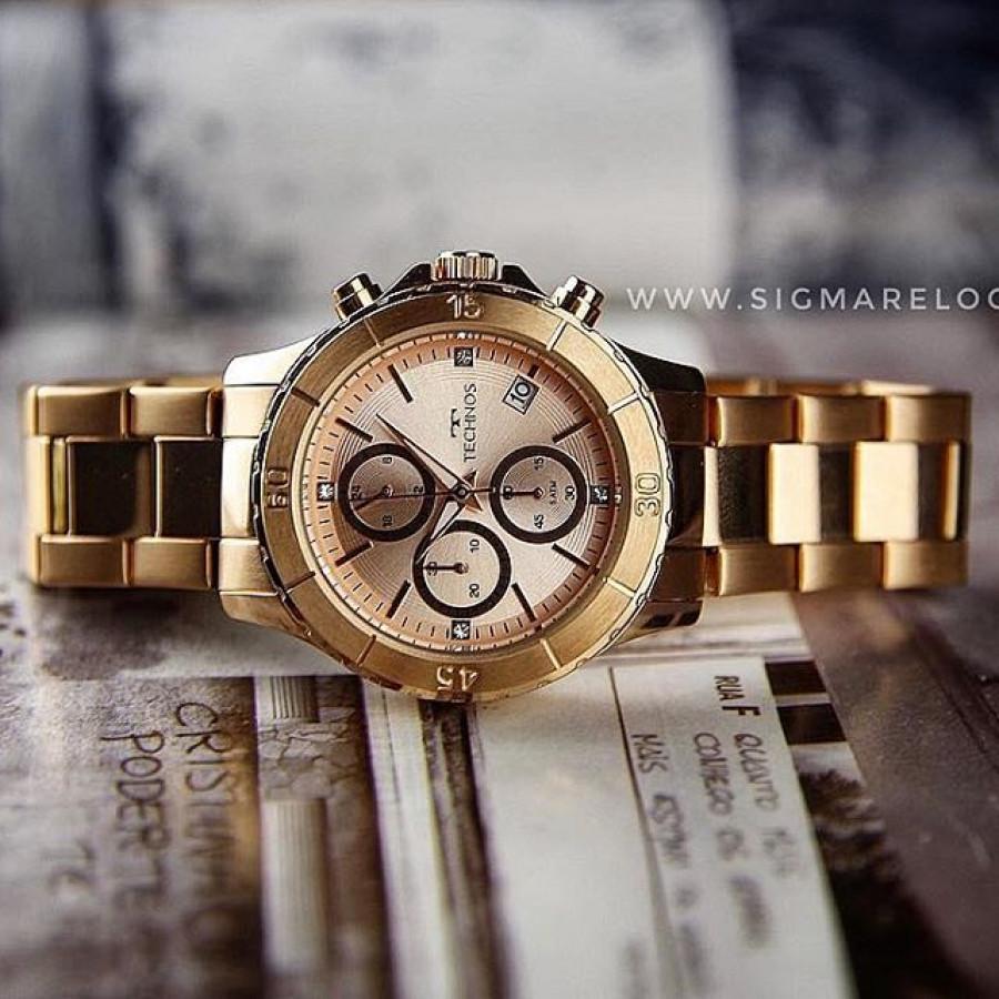 ea6be4cb407e7 Relógio Technos Rosé Feminino Elegance Ladies JS15FK 4T