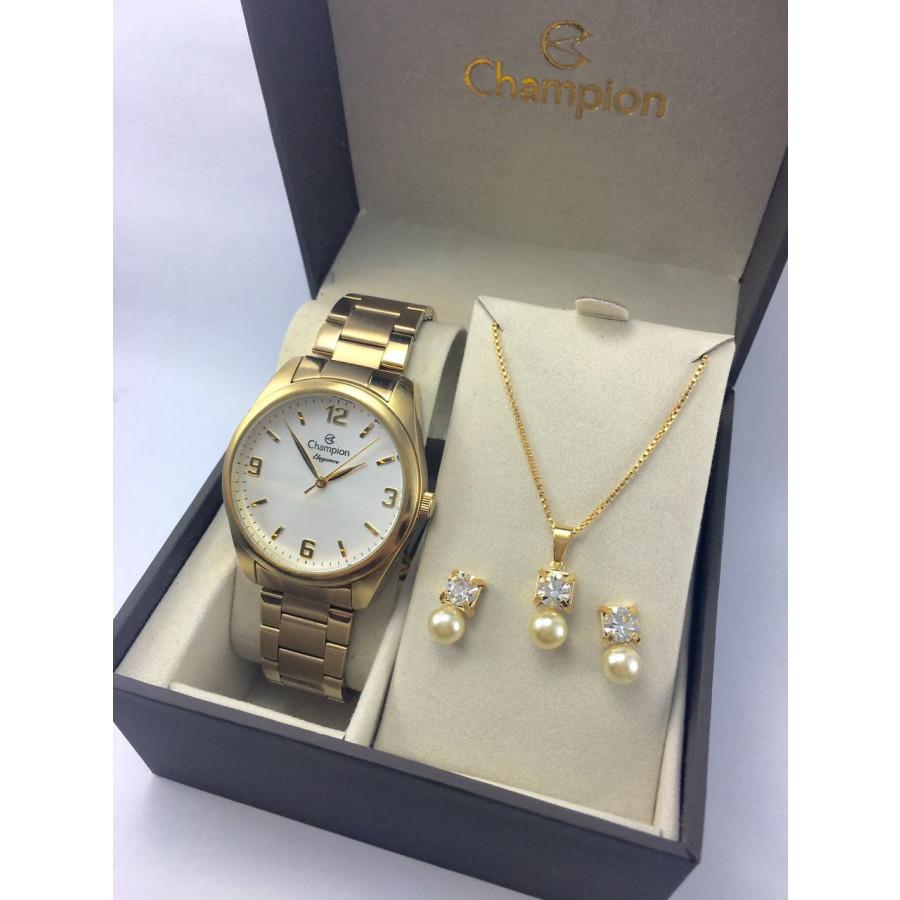 fac106f55b0 Kit Relógio Champion Dourado Feminino CN26046W