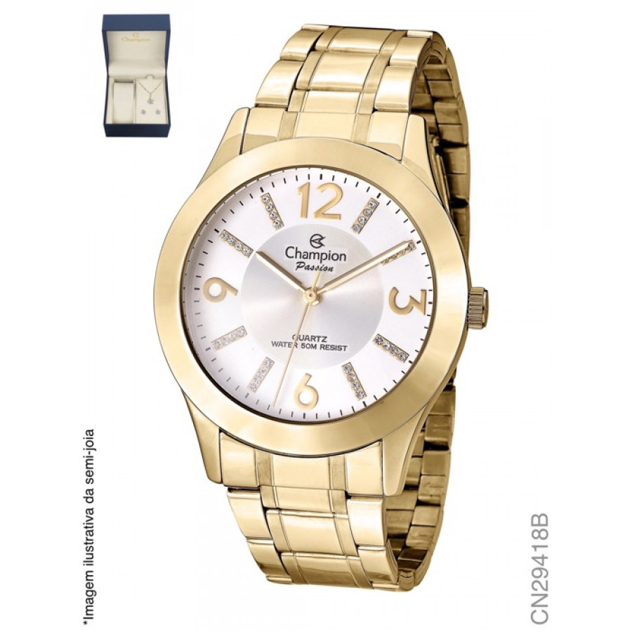 83ab28b1854 Kit Relógio Champion Passion Feminino Dourado CN29418B