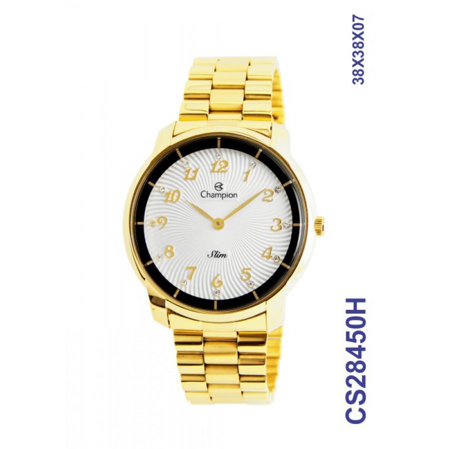 bd8d21d089e5a Relógio Champion Feminino Dourado Slim Analógico CS28450H
