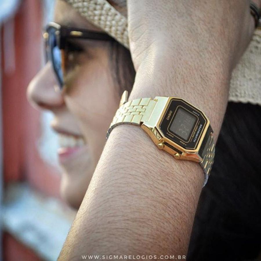 53fc9f160a3 Relógio Casio Vintage Digital Dourado LA680WGA1DF