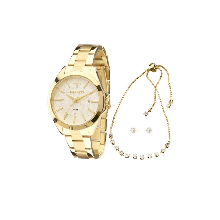 e0cb9cd536b Relógio Technos Dourado Feminino Fashion Trend Analógico 2039BK/K5B +  Pulseira e Brincos