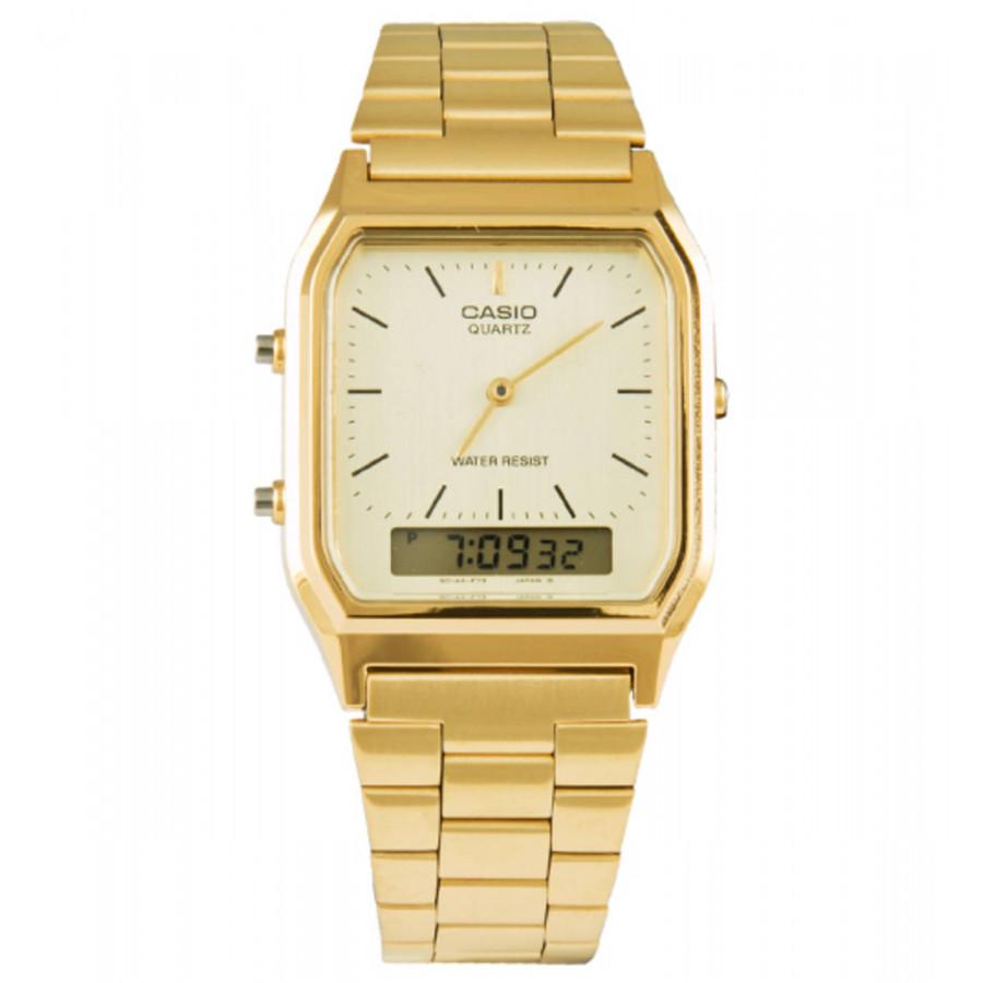 0c78df13cbe Relógio Casio Dourado Vintage Anadigi AQ230GA9DMQU
