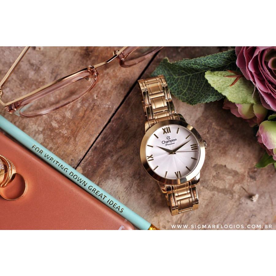 d6d7b69351f Relógio Champion Dourado Passion Feminino CN28704H