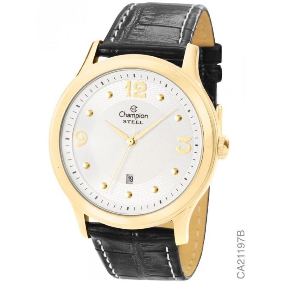 55286b2c6b2 Relógio Champion Dourado com Pulseira de Couro Masculino CA21197B