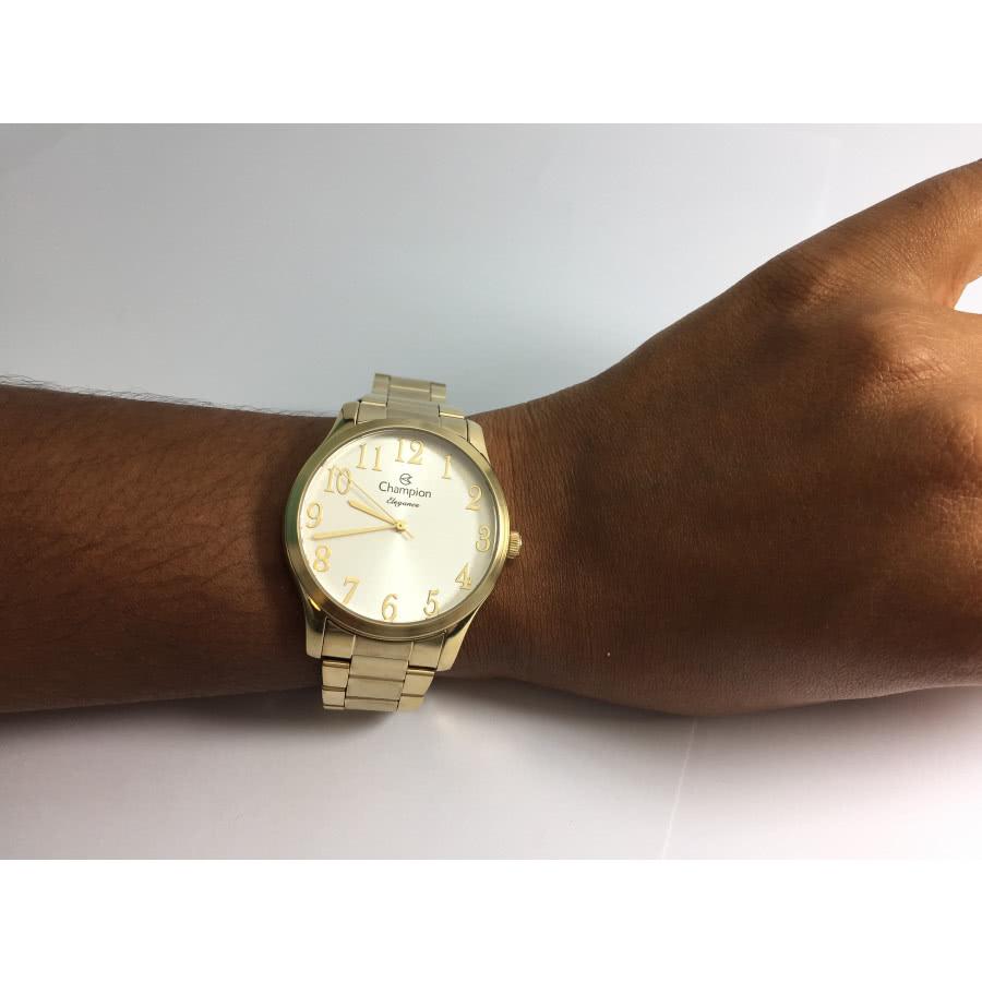 4e1315d2813 Kit Relógio Champion Feminino Dourado CN26019W + Colar e Brincos