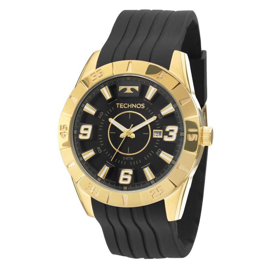 Relógio Technos Dourado e Preto Masculino Performance Racer Analógico  2115KZA 8P 2541fe7517