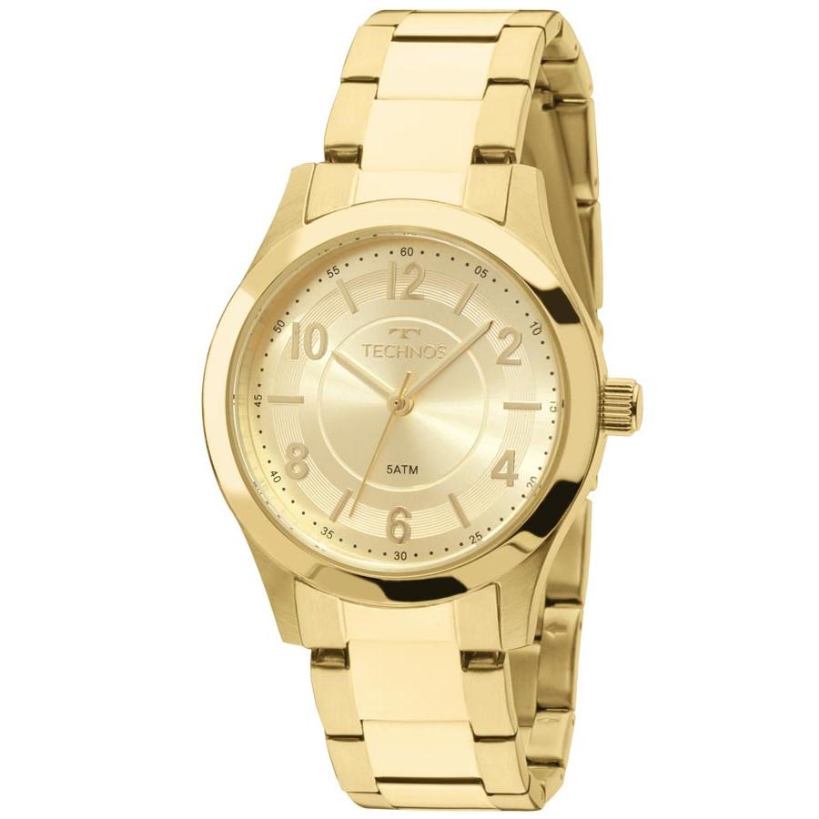 e02af8c16a18a Relógio Technos Dourado Feminino Elegance Boutique Analógico 2035MFT 4X