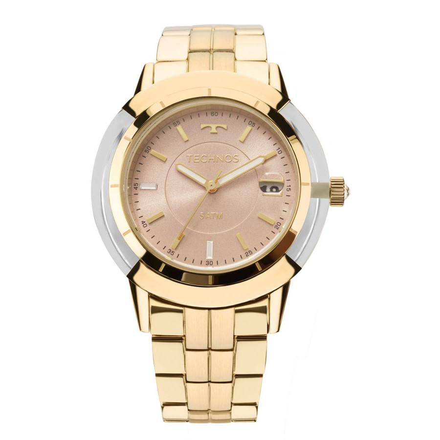 Relógio Technos Dourado Feminino Elegance Crystal Analógico 2317AB 4T 2064c7ffab