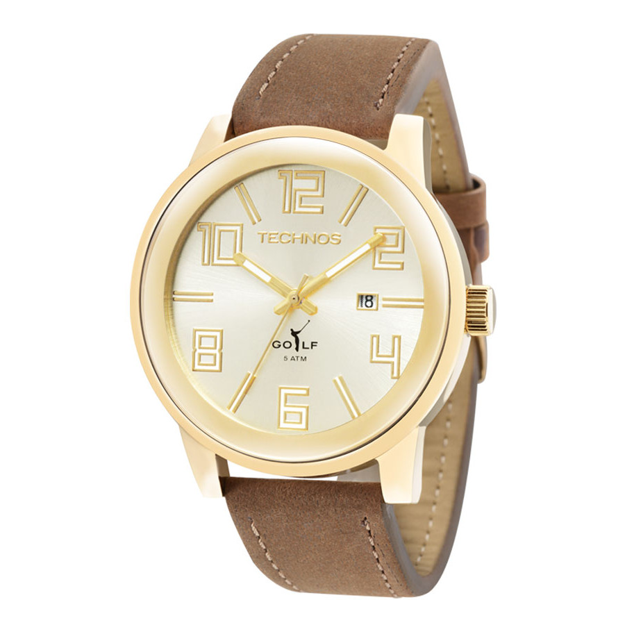 23061f070c1 Relógio Technos Masculino Dourado Classic Golf 2115KQW 2X