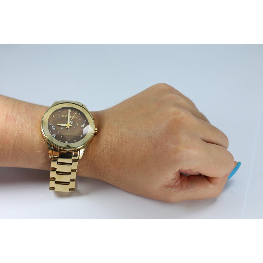 Relógio Technos Dourado Feminino Elegance Crystal 2039AT 4M 895ed46e16