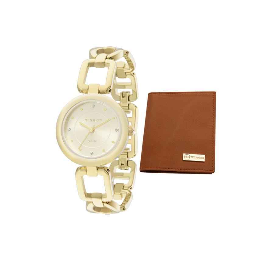 af34782458bea Relógio Technos Elegance Feminino Dourado Analógico Elos 2035LXA K4X Com  Carteira de couro
