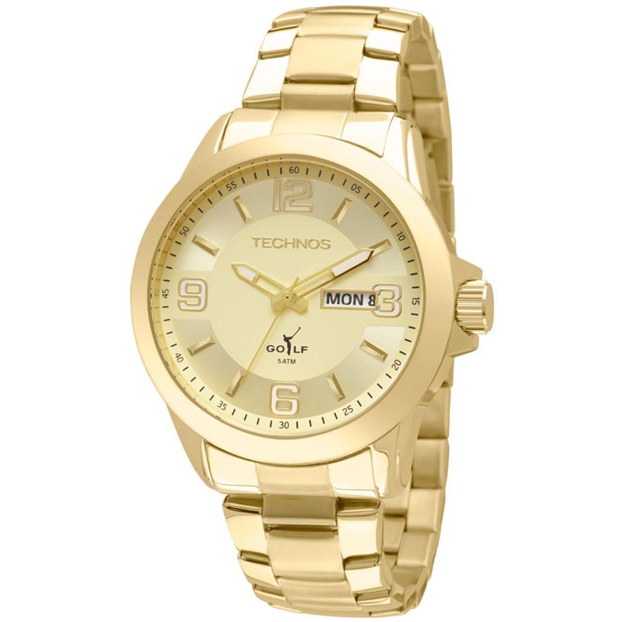 6f669bbdfa922 Relógio Technos Masculino Dourado Golf 2305AM 4X