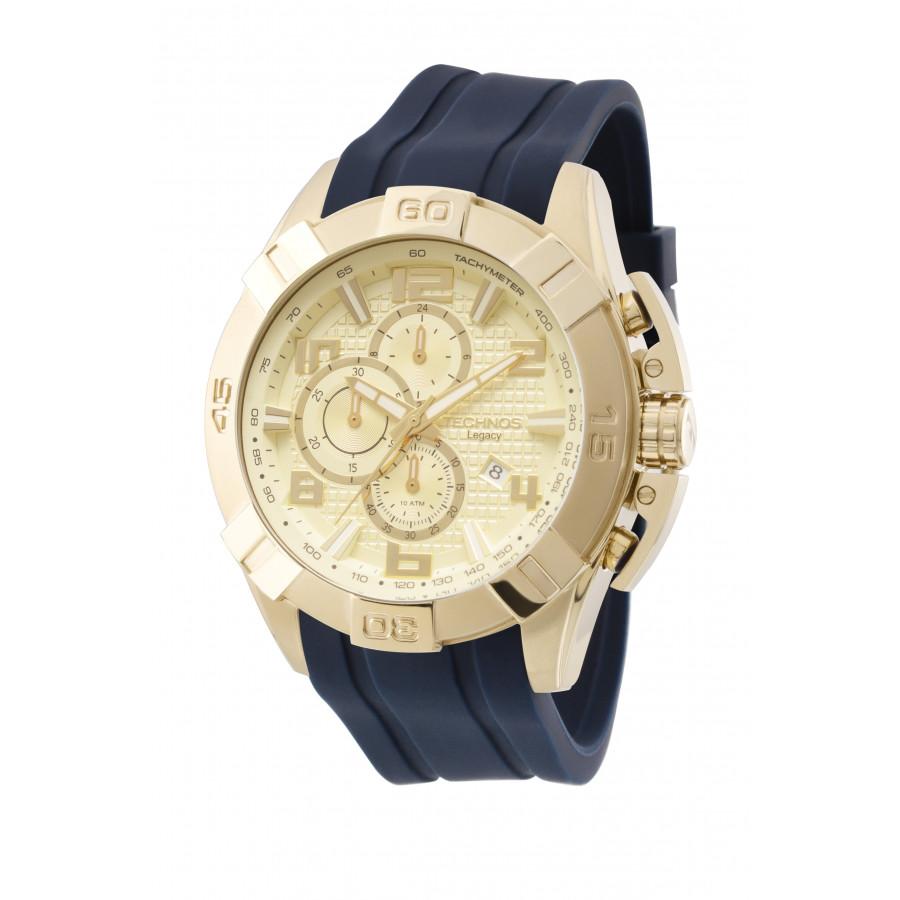 3045a592c88 Relógio Technos Masculino Dourado Legacy JS15BE 8X com pulseira de silicone