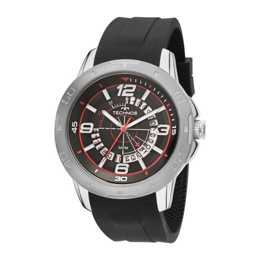 d3d15474ae4 Relógio Technos Prateado Masculino Performance Racer 2315ACH 8P Com  Pulseira de Silicone