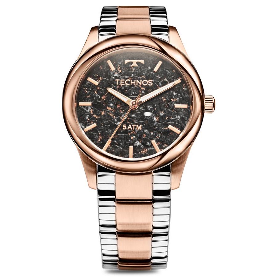 b62656906fb Relógio Technos Prateado e Rose Feminino Elegance Stone Collection 2033CP 5P