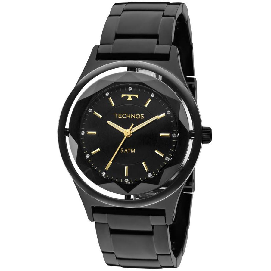 Relógio Technos Preto Feminino Elegance Crystal 2035MIB 4P 89c5f64a9f