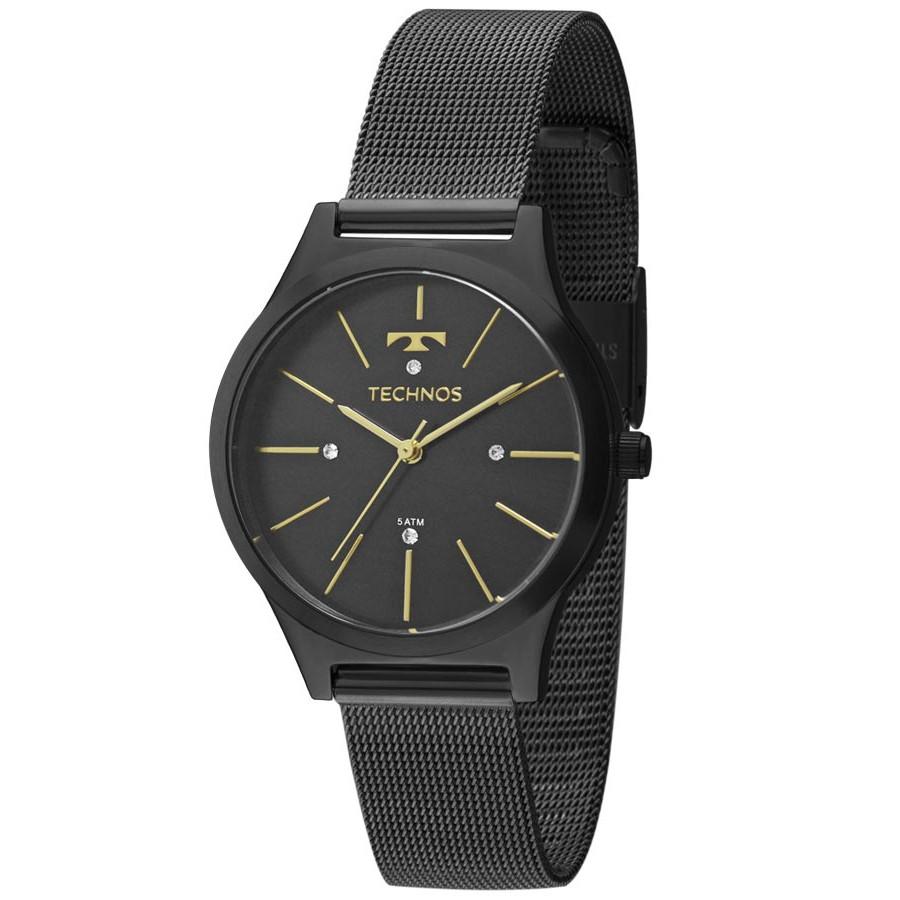 Relógio Technos Preto Feminino Fashion Trend Analógico b27c4bb785