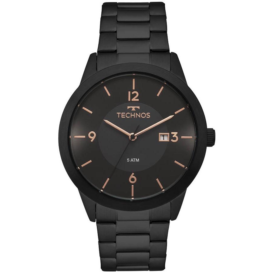 23bb943171104 Relógio Technos Preto Masculino Classic Steel 2115MOH 4P