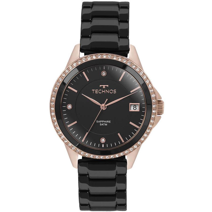 40184e55da884 Relógio Technos Rosé e Preto Feminino Ceramic 2315KZR 4P